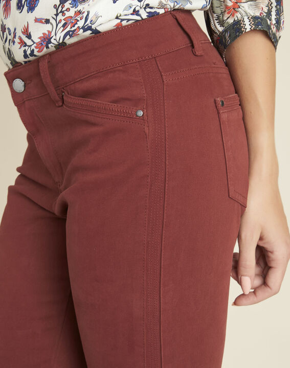 Opéra 7/8 length mahogany slim-cut jeans with zip detailing (3) - 1-2-3