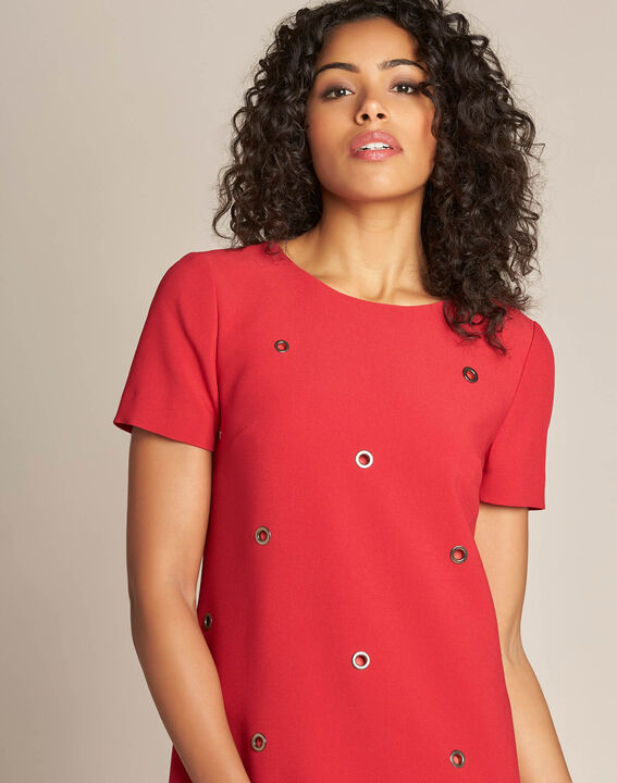 Adelie red straight-cut dress with eyelets PhotoZ | 1-2-3