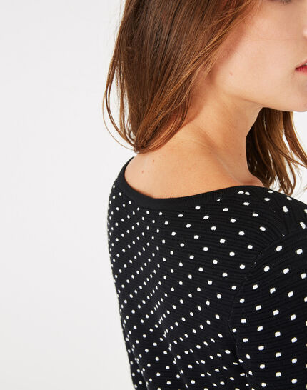 Pastille black sweater with polka dots (3) - 1-2-3
