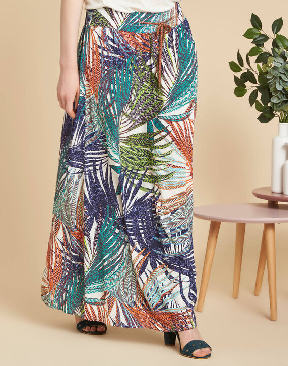 Lucius palm printed long navy blue skirt (3) - 1-2-3