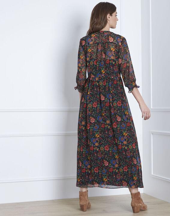 Robe noire longue imprimé fleuri Libra (4) - 1-2-3