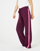 Pantalon cassis fluide bande côté kamelia aubergine.