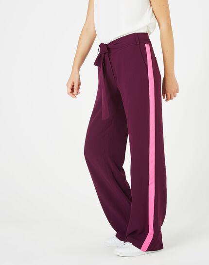 Pantalon cassis fluide bande côté Kamelia (2) - 1-2-3