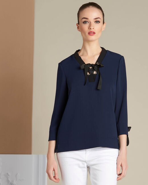 Georgina navy blue blouse with laced neckline (2) - 1-2-3