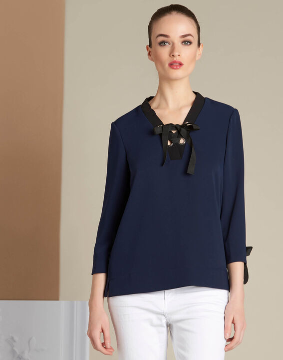 Georgina navy blue blouse with laced neckline (3) - 1-2-3