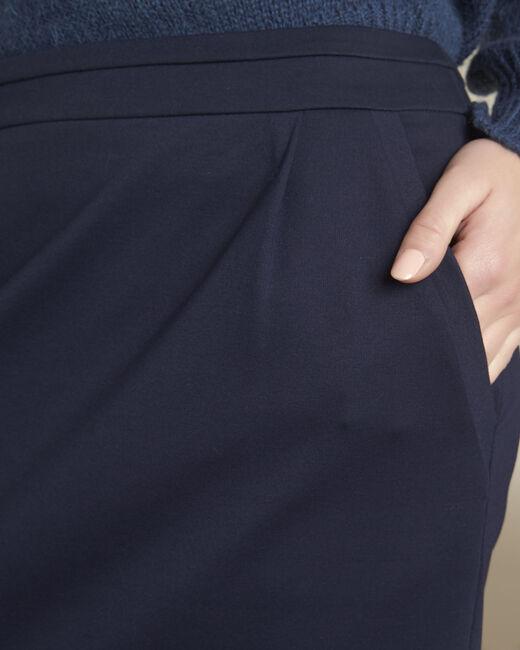 Marineblauwe rok met plooien van viscose Leslie (2) - 37653