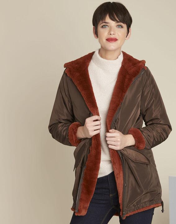 Eloan dark brown reversible faux fur parka PhotoZ | 1-2-3