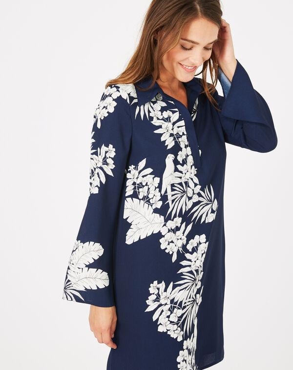 Robe chemise imprimé fleuri azur à
