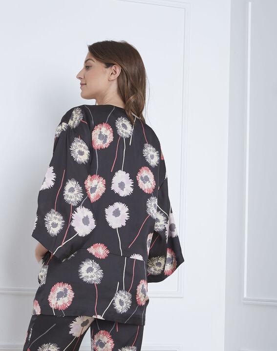Kimono noir imprimé fleuri effet satin Flore (4) - Maison 123