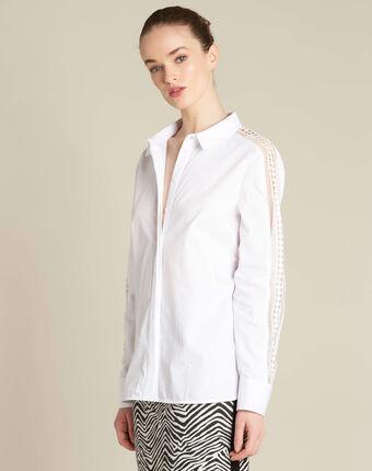 Davina ecru shirt with guipure lack inserts ecru.