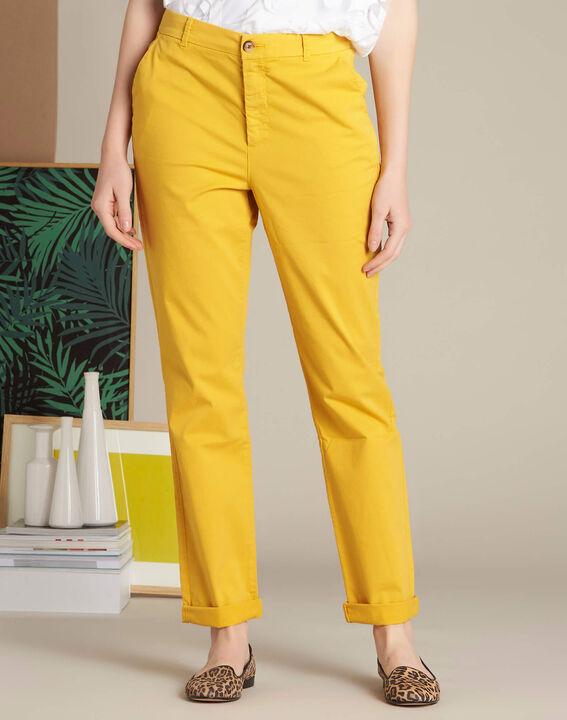 Pantalon jaune chino à revers Victoria (3) - 1-2-3