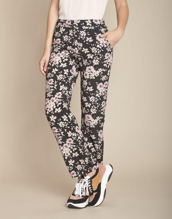 Pantalon noir imprimé fleuri Efron PhotoZ | 1-2-3