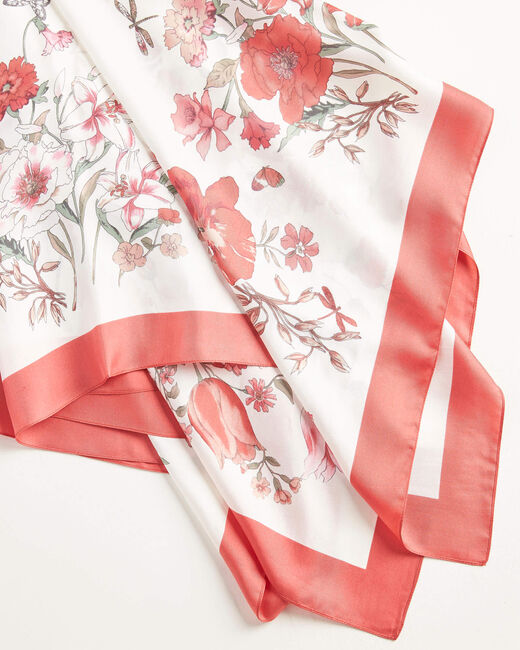 Alabama primrose floral printed square scarf in silk (2) - 1-2-3