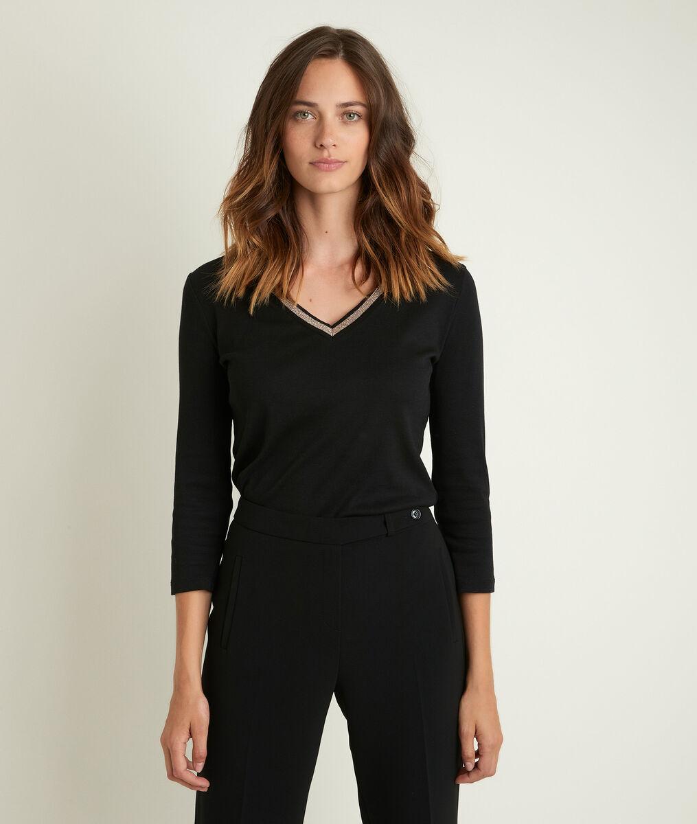 Tee-shirt noir encolure fantaisie Calypso PhotoZ | 1-2-3