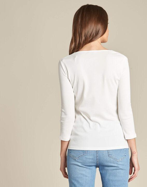 Ecrufarbenes T-Shirt mit Fantasie-Ausschnitt Etincelant (4) - 1-2-3