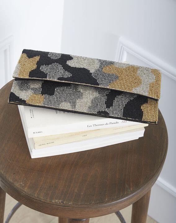 Khakifarbene Tasche mit Perlenbesatz Ussel (1) - Maison 123