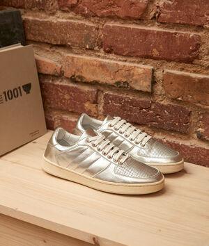 Sneakers van zilverkleurig leder Victoria