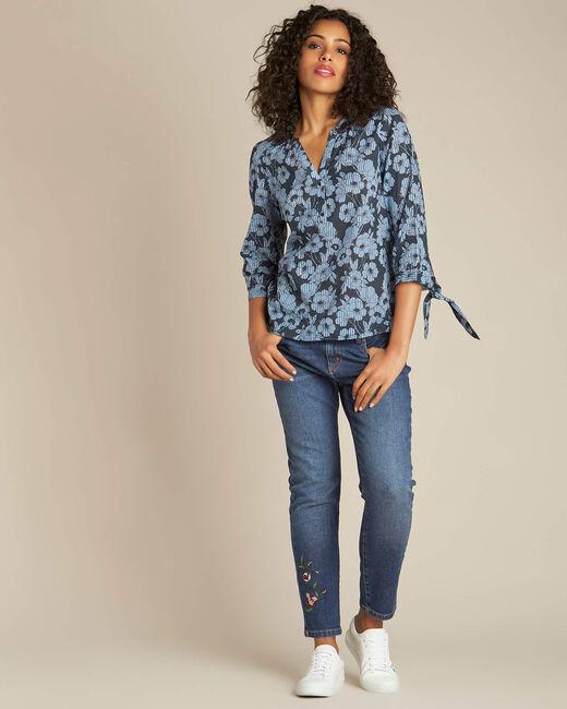 Marineblaue Bluse mit Blumen-Print Gustine (2) - 1-2-3