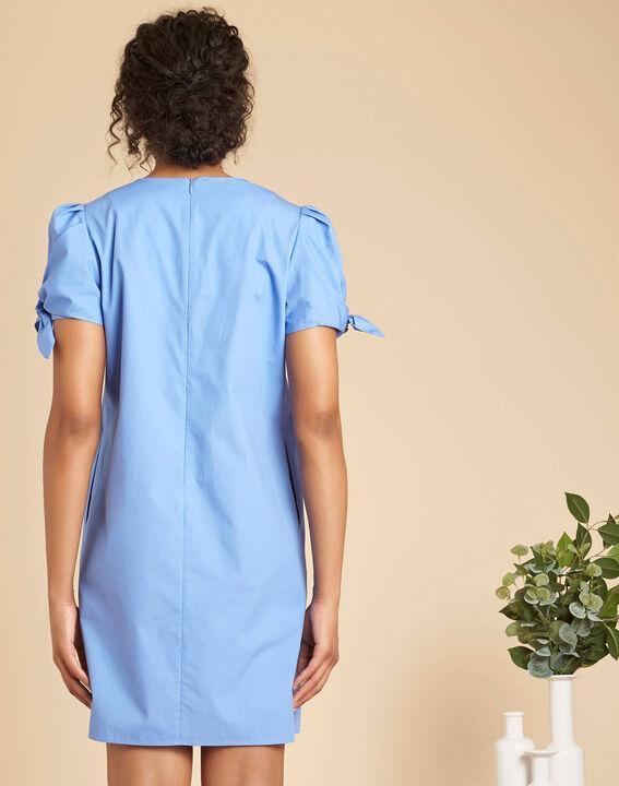 Robe bleu ciel en coton manches fantaisies Pop (4) - 1-2-3