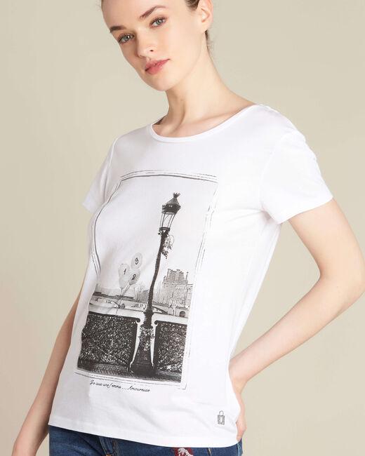 Tee-shirt écru imprimé pont des Arts Enamorada (1) - 1-2-3