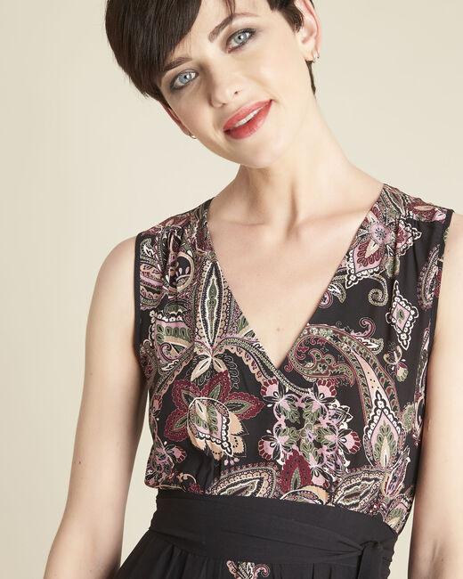 Lange jurk met kasjmierprint en ceintuur Dael (1) - 37653