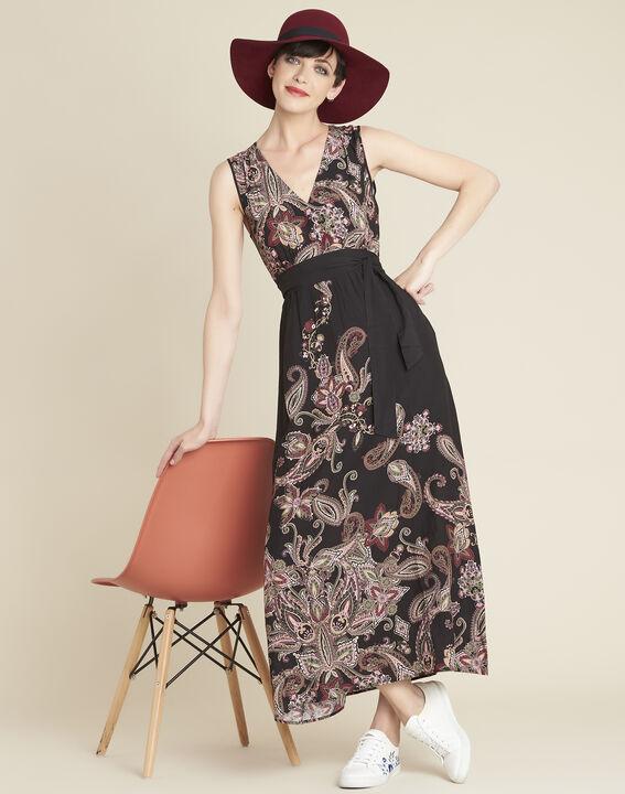 Langes Kleid mit Kaschmirprint und Gürtel Dael (3) - Maison 123