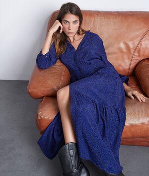 Robe longue fluide imprimée bleu vif Carola
