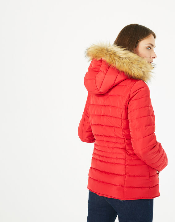 Rosie short red puffer jacket with hood (5) - 1-2-3