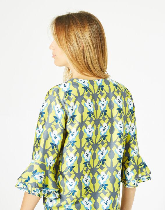 Blouse jaune imprimée fleurs Dorine (5) - 1-2-3