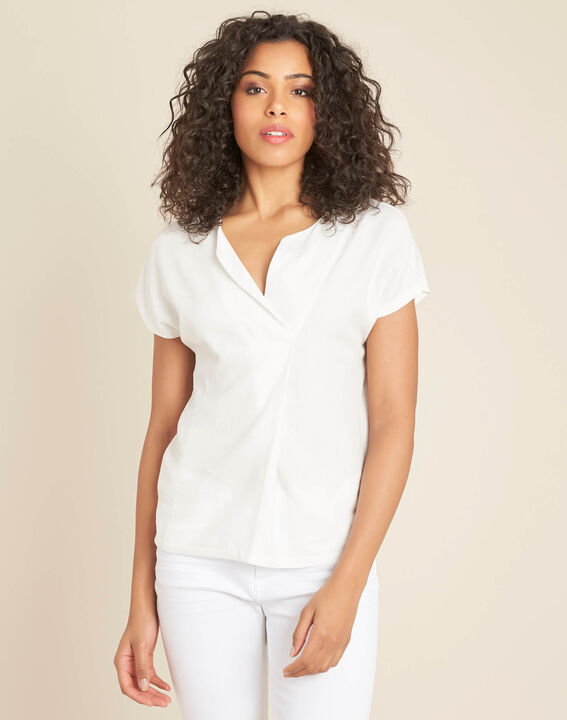 Gaia ecru dual-fabric V-neck top (3) - 1-2-3