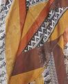 Amberkleurige sjaal van zijde en modaal met ethnische print Fenda (2) - 37653