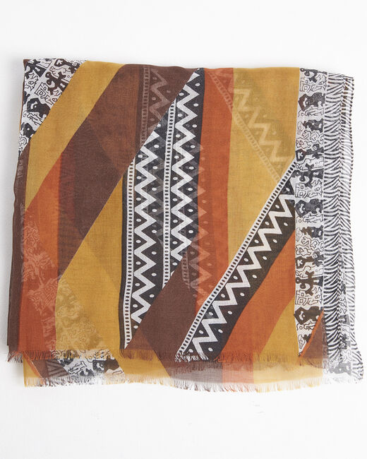 Foulard soie et modal ambre imprimé ethnique Fenda (2) - 1-2-3