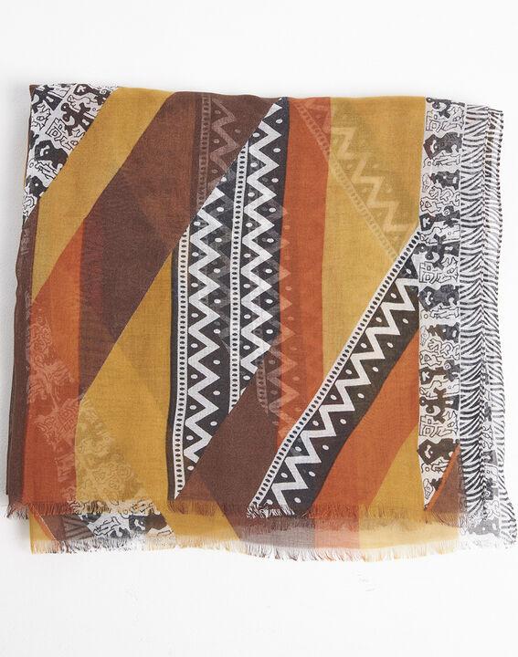 Bernsteinfarbener Schal mit ethnischem Druckmuster aus Seide und Modal Fenda PhotoZ | 1-2-3