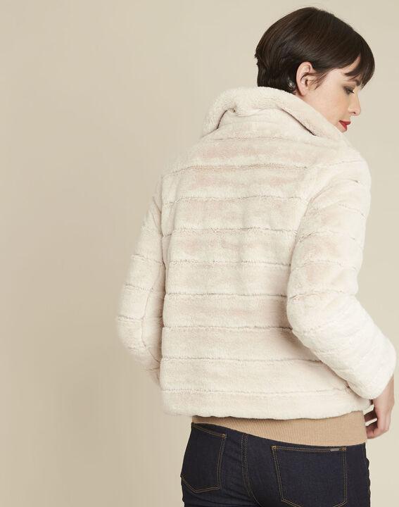 Laura ecru reversible faux fur jacket (4) - 1-2-3