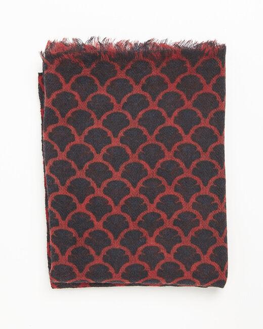 Foulard rouge imprimée en laine Fantin (2) - 1-2-3