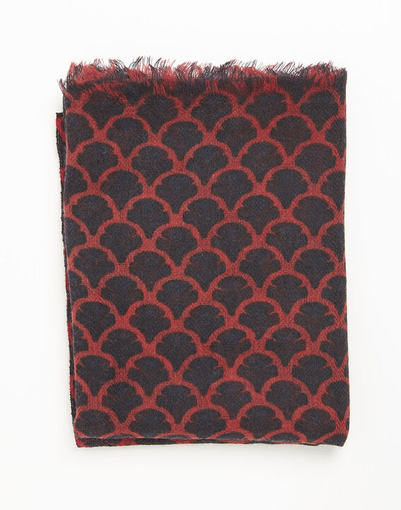 Fantin red printed wool scarf (2) - 1-2-3
