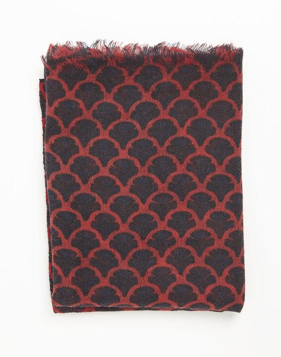 Foulard rouge imprimée en laine fantin