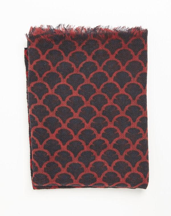 Roter Wollschal mit Druckmuster Fantin (2) - 1-2-3