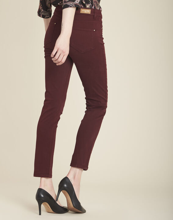 Vendôme 7/8 length slim-cut burgundy cotton satin jeans (4) - 1-2-3