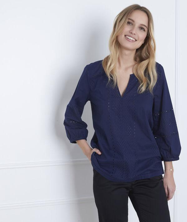 Marineblaue Bluse mit englischer Stickerei Verveine PhotoZ | 1-2-3