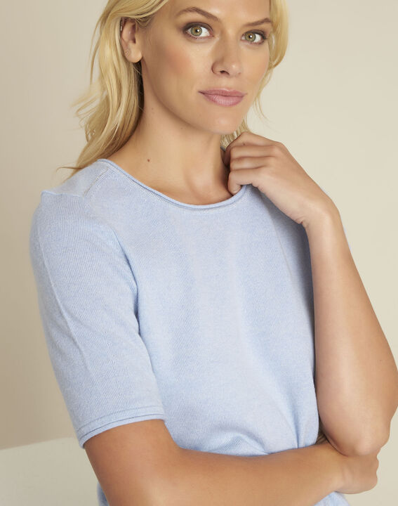Ballet azure blue wool cashmere pullover with short sleeves (3) - 1-2-3