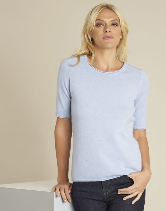 Ballet azure blue wool cashmere pullover with short sleeves (1) - 1-2-3