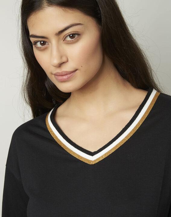 Tee-shirt noir encolure V fantaisie Philomene (4) - Maison 123