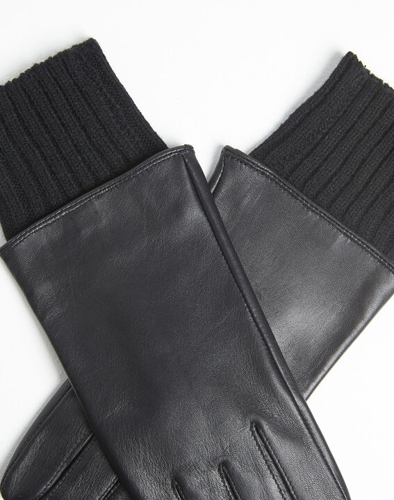Urio black leather gloves with wool cuff (2) - Maison 123