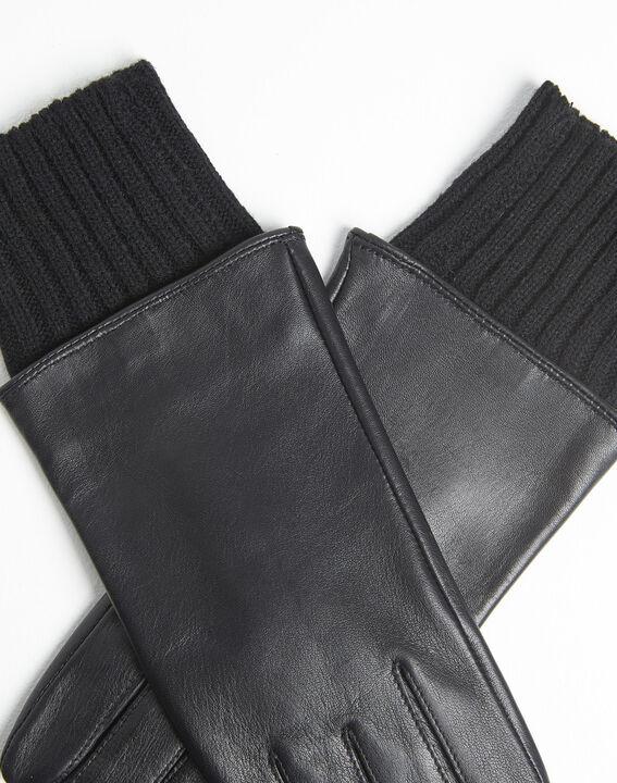 Gants noirs en cuir poignet en laine Urio (2) - 1-2-3