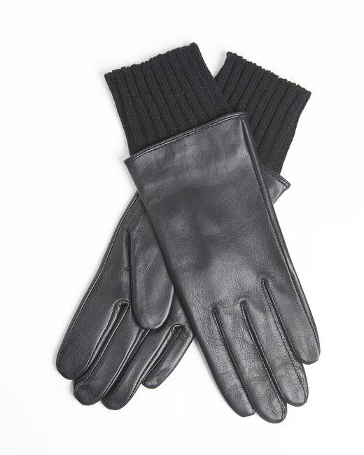 Gants noirs en cuir poignet en laine Urio (1) - 37653