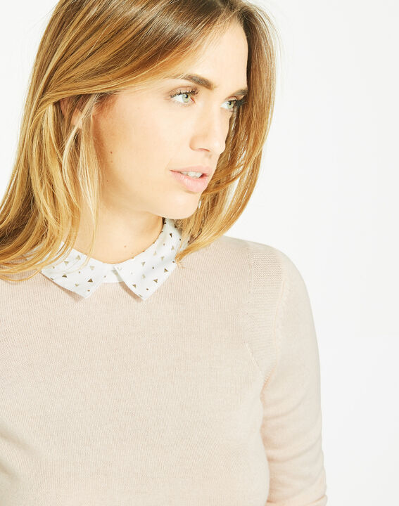 Pretty pale pink sweater with stylish neckline (4) - 1-2-3