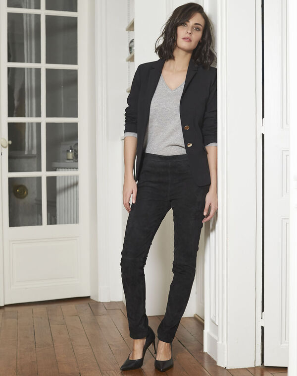 Pantalon noir en cuir velours Harvey (2) - 1-2-3