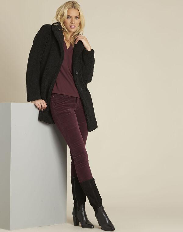 Manteau noir aspect laine bouillie Elvire (2) - 1-2-3