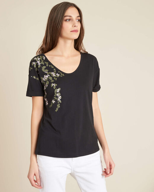 Tee-shirt noir imprimé fleuri Erable (2) - 1-2-3